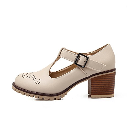Buckle Imitated Pumps Hollow Shoes Beige Out Leather BalaMasa Womens qn7TISxRt