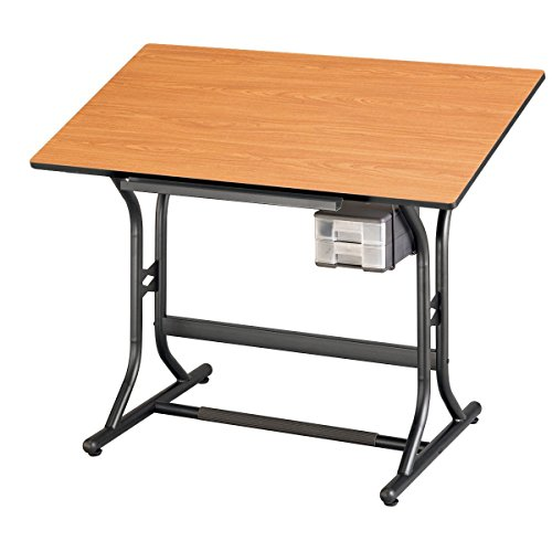 Alvin CraftMaster Jr. Art, Drawing, and Hobby Table, Black Base with Cherry Woodgrain Top 24'' x 40'' CM30 3 WBR by Alvin