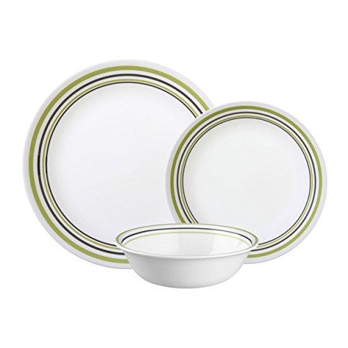 Corelle Vitrelle Glass 12-Piece Garden Sketch Bands Dinner Set, Green/Grey