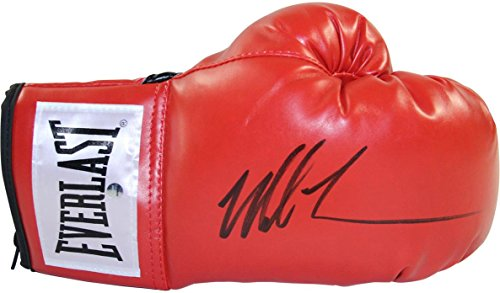 Steiner Sports Mike Tyson Signed Everlast Boxing Gloves, Red