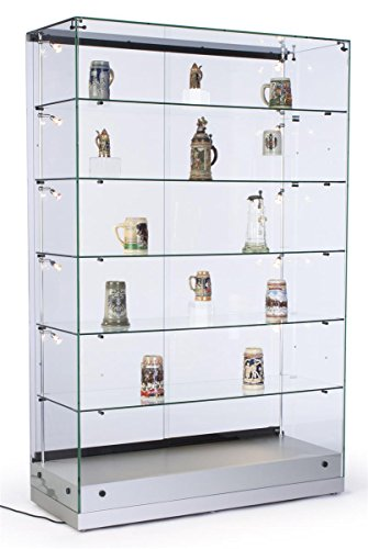 48 Inch Glass Display Cabinet with 5 Height-Adjustable Glass Shelves and 10 Side Lights, Curio Cabinet with Lockable Sliding Door - Silver, MDF Base