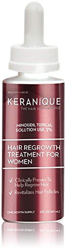 Keranique Hair Regrowth Treatment Dropper - 2% Minoxidil, 2 Fl Oz 30 Day Supply - Regrow Thicker-Looking Hair, Helps Revitalize Hair Follicles