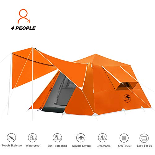 🥇 4 or 6 Person Camping Tent Windproof Family Dome Tent with Screen Room Easy Set Up for Backpacking Hiking Mountaineering