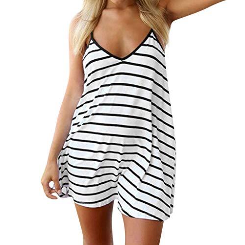 Mini Dresses for Women,ONLY TOP Women Summer Spaghetti Strap Stripe Halter Neck Sleeveless Backless Mini Dress - Turtleneck Mini Stripe