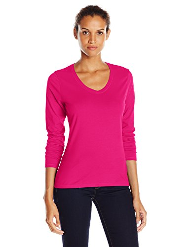 Pink Ladies Clothes (Hanes Women's V-Neck Long Sleeve Tee, Sizzling Pink,)