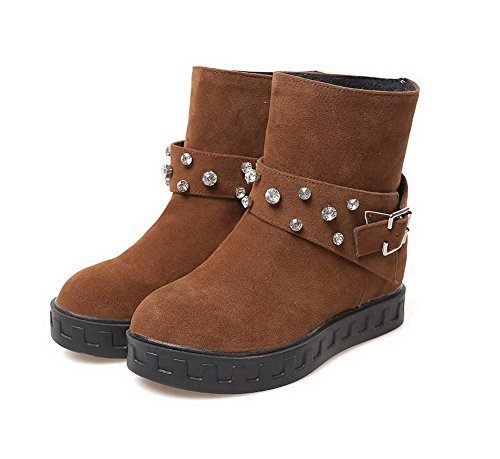 Imitated Solid Heels Top Kitten 38 Suede Pull On Low Brown AmoonyFashion Womens Boots Xazw55