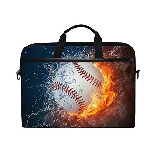 Briefcase Leather Baseball (Laptop Bag Briefcase Shoulder Messenger Tablet Bag Fire Baseball Business Carrying Handbag Working Computer Bag Fit 15-15.4 inch MacBook)