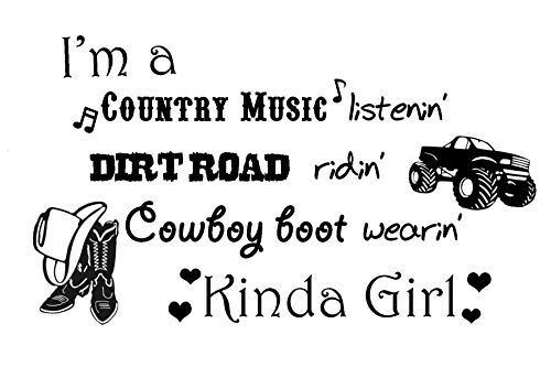 ValueVinylArt I'm a Country Music Listenin'. Cowboy Boot Wearin' Kinda Girl Wall Decal (Black, 26