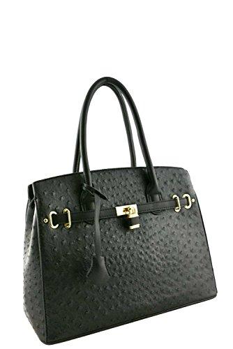 womens-designer-faux-leather-ostrich-padlock-top-handle-bag-va2013-black