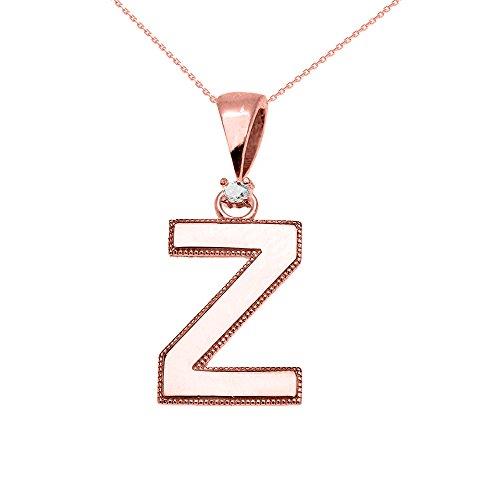 """Collier Femme Pendentif 10 Ct Or Rose Poli Élevé Milgrain Solitaire Diamant """"Z"""" Initiale (Livré avec une 45cm Chaîne)"""
