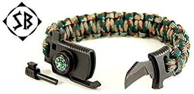 Survival Knife Paracord Bracelet – Emergency Fire Starter Compass Whistle Multitool for Outdoors Hunting Camping Hiking Fishing Multi-Camo by Survival Boom