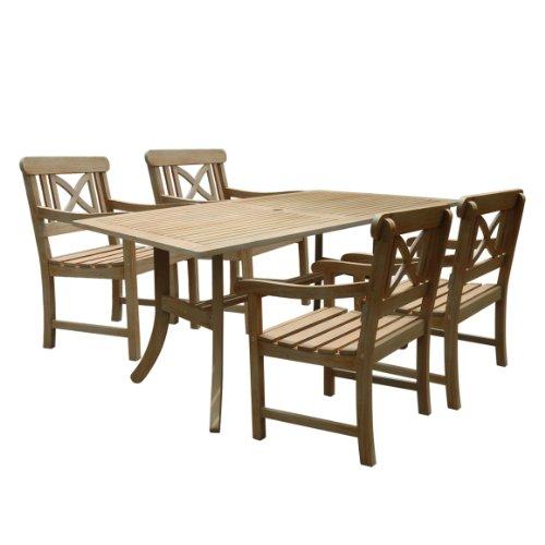 Vifah V1300SET8 Renaissance Rectangular Table and Armchair Outdoor Hand-Scraped Hardwood Dining Set (Set Patio Hardwood)