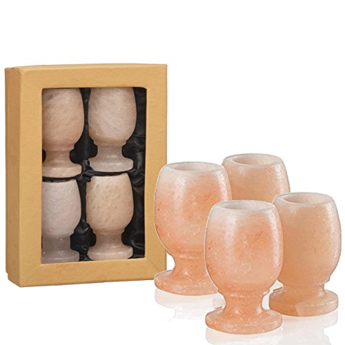 UmAid Pink Himalayan Salt Wine Shape Shot Glasses (Set of 4) | Unique Gift Box, Bar Collection | 1.25 - 1.5 Oz Drinking Glass, |100% Pure Food Grade Salt (Unique Gift Sets)