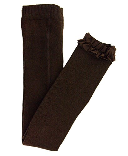 RuffleButts Baby/Toddler Girls Chocolate Footless Ruffle Tights - 12-24m