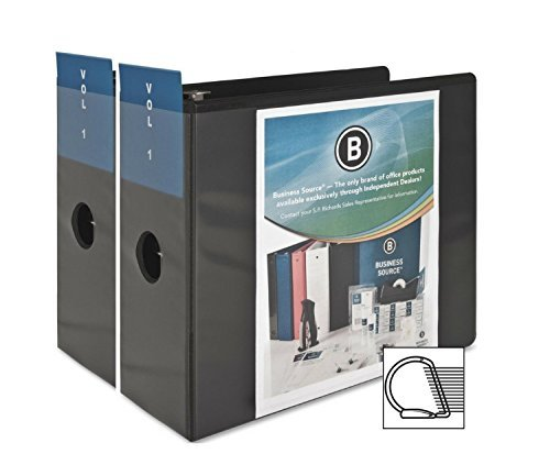 Business Source 2 Pack,Office Binder 5-Inch Slant D-Ring View Binder - Black (BSN28451)