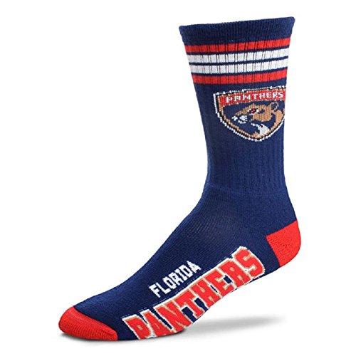Bare Feet Clothing Store - For Bare Feet NHL 4 Stripe Deuce Crew Men Socks-Florida Panthers-Large(10-13)