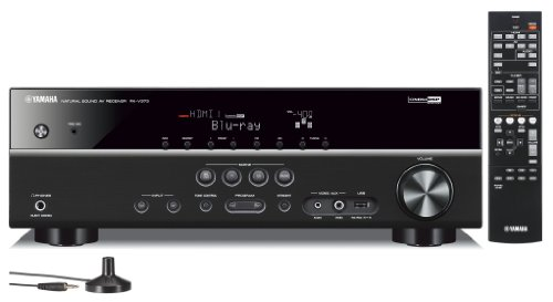 Best Yamaha 3D-Ready 5.1-Channel 500 Watts Digital Home Theater Audio Video Receiver with 4K pass-through, HD Audio Decoding, CINEMA DSP, Adaptive Dynamic Range Control, 40-Station Preset Tuning, Sleep Timer, Compressed Music Enhancer & Front Panel USB Digital Port to Control, Charge & Play Your iPod, iPhone or Memory Drive + Yamaha Custom Easy-to-install In-Ceiling Full Range Mini Speakers (set of 6) with a 4″ Double-Layered Cone Woofer + 100 ft 16 Gauge Speaker Wire (online)