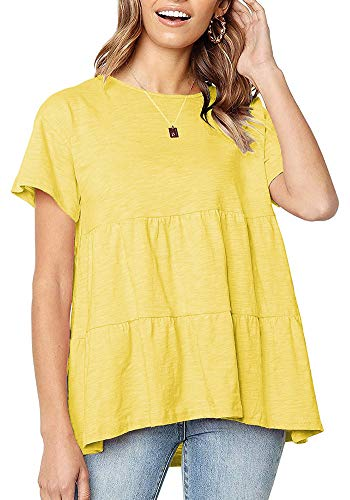 UPSTONE Peplum Tops for Women Summer Short Sleeve Babydoll Shirts Round Neck Yellow L
