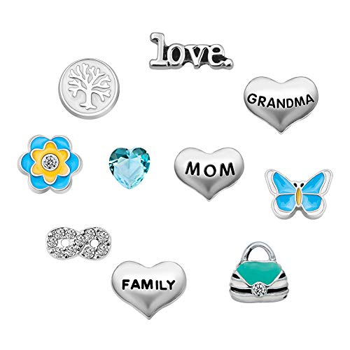 Q&Locket Mom Grandma Family Tree Floating Charms For Glass Living Memory Lockets Necklace &Bracelet (Style1) (Origami Owl Valentine Charms)