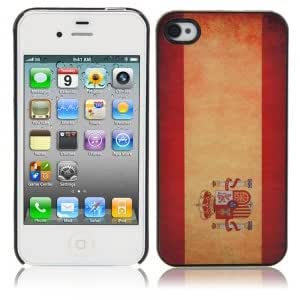 Fashionable Hard Protective Case with Spain Flag Pattern for iPhone 4/4S