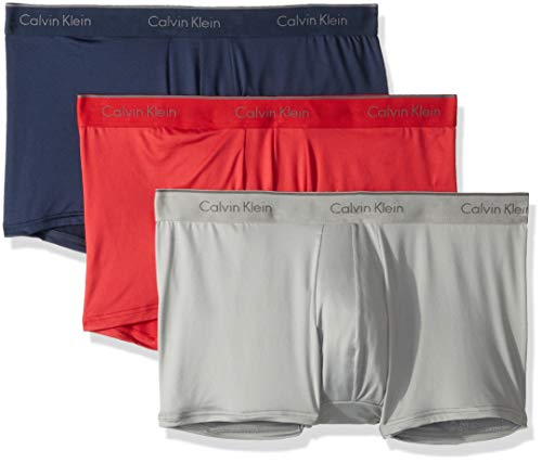 (Calvin Klein Men's Microfiber Stretch Multipack Low Rise Trunks, Blue Shadow/Impact/Medium Grey, M)