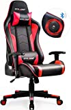 GTRACING Music Gaming Chair with Speakers Bluetooth Video Game Chair Heavy Duty Ergonomic Computer Office Desk Chair GT890M Red