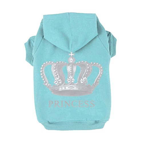 Fleece Dog Hoodies,Rdc Pet Apparel, 'Princess' Imperial Crown Patterns Dog Queen Basic Hoodie Sweater, Cotton Jacket Coat for Small Dog & Medium Dog & Cat (Blue) ()