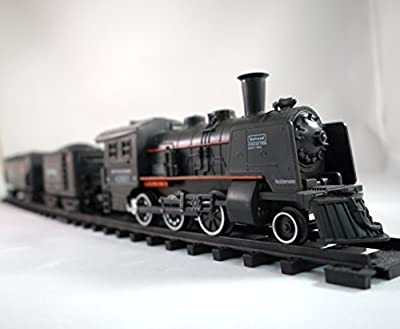 Railway King Electric Steam Locomotive Classical Train Playset with Lights and Train Sound PARENT by Haktoys