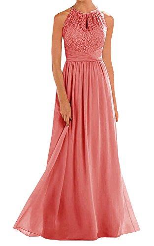 (Annadress Women's Halter Lace A-line Chiffon Floor-Length Bridesmaid Dress Coral)