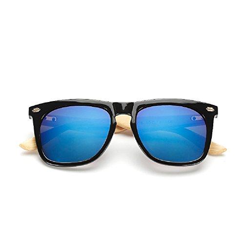 Weidan anti - wood frame bamboo glasses men and women sunglasses driving mirror 516 (Black box / blue lens, - Polarizadas Mujer Gafas De Sol