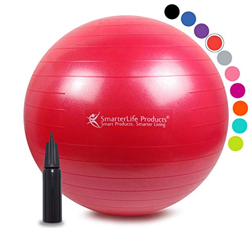 (Exercise Ball for Yoga, Balance, Stability from SmarterLife - Fitness, Pilates, Birthing, Therapy, Office Ball Chair, Classroom Flexible Seating - Anti Burst, Non Slip + Workout Guide (Red, 45 cm))