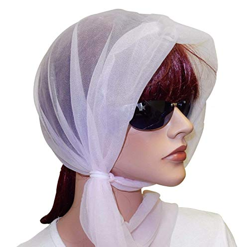 - Pink Sheer Wind Scarf Bonnets with Fastening Rings, One Size Fits All, 100% Nylon.