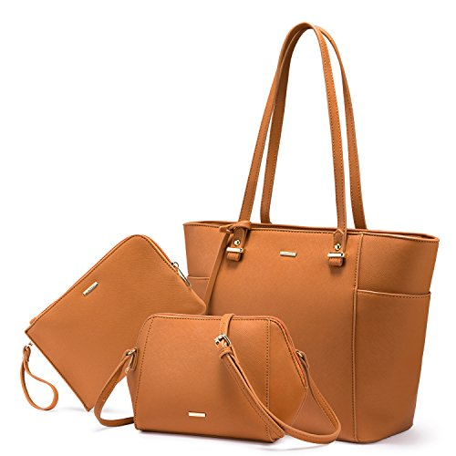 LOVEVOOK Women Purses and Handbags Chic Crossbody Bag Hobo 3pcs Large Capacity Brown - Brown Chic Handbag