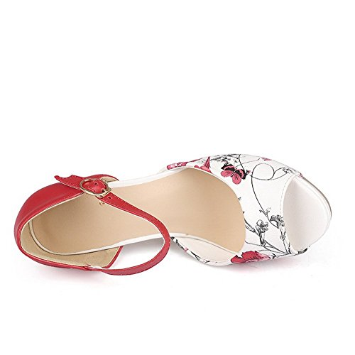 BalaMasa Print Sandals Material Womens Toe Animal Red Peep Soft rZxraEwqH