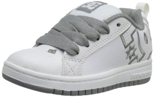 DC Court Graffik Sneaker (Toddler/Little Kid/Big Kid),White/Grey,7 M US Big Kid