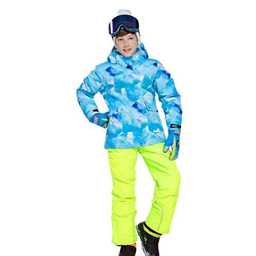 - Comfortable Boys Girls Winter Snowboard Skiing Parka Jacket Snow Bib Snowsuit Set Warm Hooded Ski Jacket + Pants 2 Pcs Set
