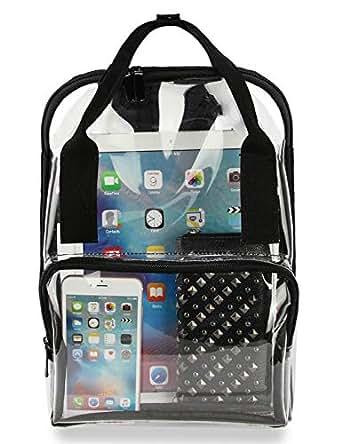 Clear Backpack PVC Transparent School Bookbag Work Bag (Black)
