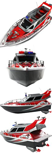 Police Speed RC Boat Electric Full-Function Big-Size 4-Channel Patrol Craft Remote Control Boat with Rechargeable Batteries