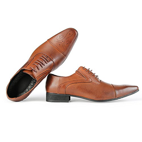 Jumuland Men s Oxfords Classic Leather Dress Shoes Modern Round Cap Toe  Lace up Formal Business d67b0114863