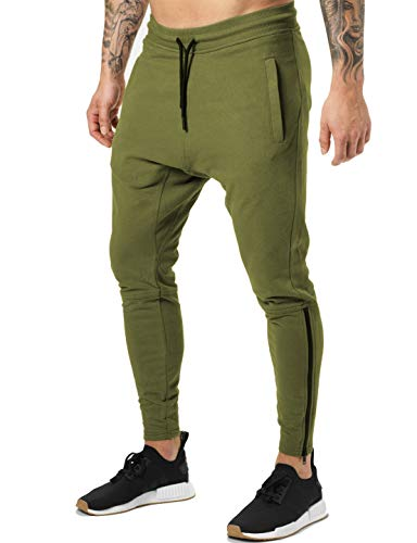 FLYFIREFLY Men's Gym Fashion Haren Sport Pants Workout Running Jogger Fit Sweatpants Army Green