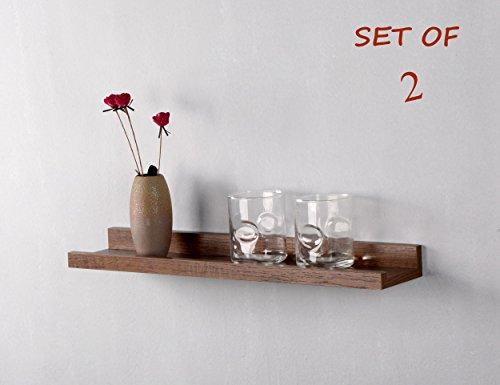 """O&K Shelving Solution Large""""L"""" Shaped Floating Wall Shelf Set of 2 (Teak) For Sale"""