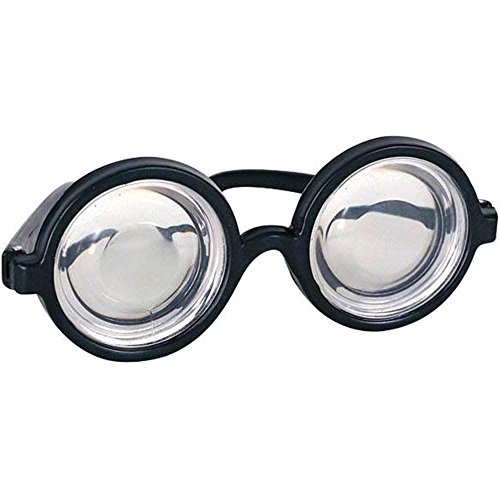 Nerd Glasses Round Bubbles Glasses Bug Eyes Specs Coke Bottle Costume Novelty Glasses -