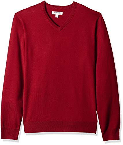 Goodthreads Men's Merino Wool V-Neck Sweater, red, X-Large