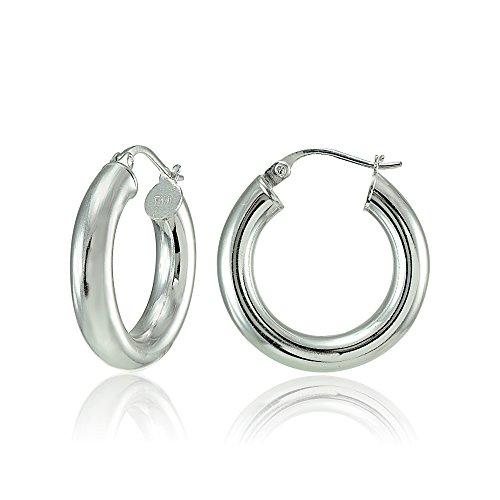 Hoops & Loops Sterling Silver 4mm High Polished Round Hoop Earrings, (Loop Stud)