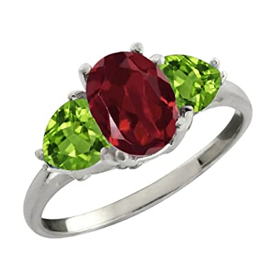 2.36 Ct 8x6mm Oval Red Rhodolite Garnet and Green Peridot Sterling Silver Three Stone Ring