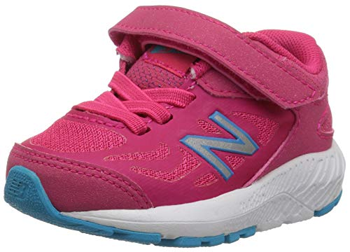 New Balance Girls' 519v1 Hook and Loop Running Shoe, Pomegranate/Vortex, 4 M US ()