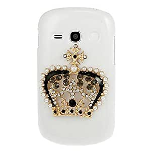 DUR Crown Diamond Spot Drill Pattern White Hard Back Case Cover for Samsung Galaxy Fame S6810