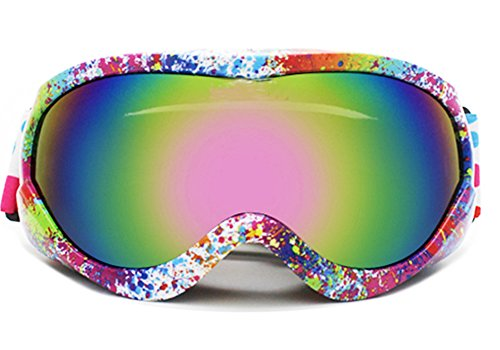 Jr Ski Goggle - BeBeFun Junior Kids Youth Ski Goggles Anti Fog Lenses with Dual Lens For Girl and Boy Pink Rainbow Blue style (Color)