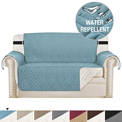 "H.VERSAILTEX Reversible Loveseat Cover Furniture Protector Anti-Slip Water Resistant 2 Inch Wide Elastic Straps Couch Covers Pets Kids Fit Sitting Width Up to 46""(Love Seat, Stone Blue/Beige)"