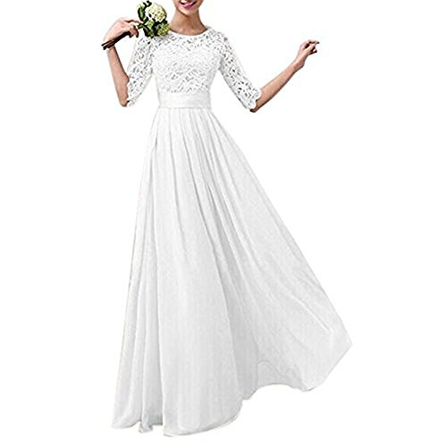 Jessica Lace Wedding Dress - Jessica CC Women's Vintage Floral Lace Party Bridesmaids Wedding Maxi Long Dress (White, Medium)